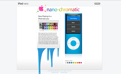 Website showcasing the new iPod nano.