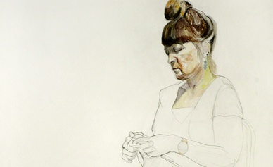 Pencil and watercolour drawing of a Woman Kniting